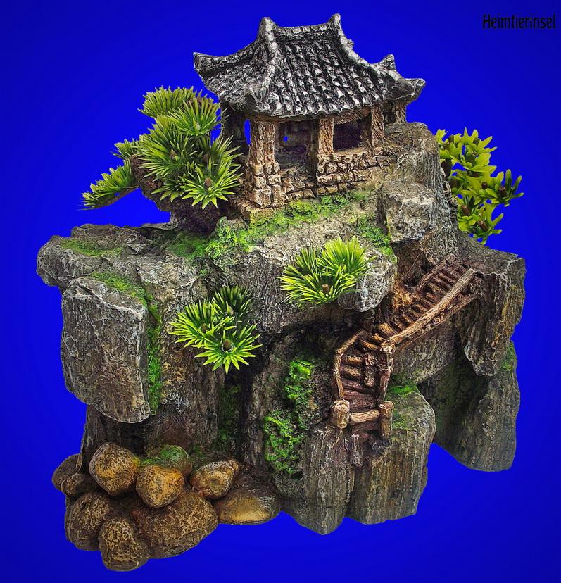 aquarium deko china garten haus auf felsen terrarium dekoration zubeh r 194 ebay. Black Bedroom Furniture Sets. Home Design Ideas