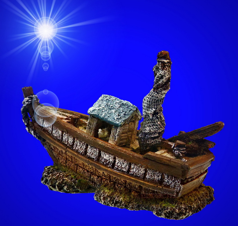 aquarium deko fischerboot schiffswrack schiff terrarium dekoration zubeh r ebay. Black Bedroom Furniture Sets. Home Design Ideas